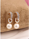 Coreia do arco longo branco pérola 18k banhado a ouro brincos para as mulheres em jóias