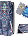 Cartoon Elephant Pattern Full Body Case with Stand PU Leather Case for Samsung Galaxy S4 I9500