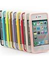 xundd TPU cor sólida transparente ultra-fina com tampa pode tocar casos de corpo inteiro para iPhone 4 / 4S