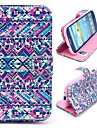 Tribal Design Magnetic Foldable Folio Stand Cross Pattern Leather Case for Samsung Galaxy S3 i9300