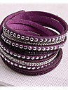 Leather Bracelets Twice New Arrivals Popular Copper Piece Diamond Dark Purple boots