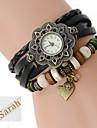ผู้หญิงของขวัญส่วนบุคคลของสามชั้นห่อปูสร้อยข้อมือหนังสลักนาฬิกาแบบอะนาล็อกกับ rhinestone