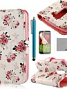 COCO FUN® Rose Flower Pattern PU Leather Full Body Case with Screen Protector, Stylus and Stand for LG G2 MINI
