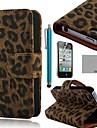 coco fun® svart leopard pu läder hela kroppen fallet med skärmskydd, stå och penna för iPhone 4 / 4S