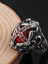 Men's Luxury Synthetic Ruby Stainless Steel / Zircon Band Ring - Luxury Ring For Party / Daily / Casual
