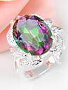 Holiday Gift Oval Rainbow Mystic Topaz Gemstone Silver Wedding Ring 1PC