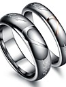 "Classic Lovers Tungsten Steel Heart ""Real Love"" Couple Rings (2 Pcs)"
