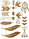 1PC Gold Glitter Tattoos Golden Temporary Tattoos Tattoo Stickers Blogger's Favor for Body Art(27*14.5*0.1)