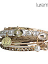 lureme®rose couleur or perles en alliage Bracelet plaqué multicouche