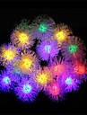 20 Leds with Furry Ball Solar Lamps White Rainbow Warm White