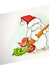 main peinte mignon chapeau de Noel carte de lapin