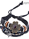 Lureme®Vintage Alloy Flower Pattern Multi-row Woven Bracelet