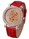 Women's Fashion Watch Quartz Casual Watch PU Band Sparkle Butterfly White Red