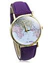 Montre PU bande de cuir bracelet à quartz analogique de style imprimé multicolore de bohème des femmes (de couleurs assorties)