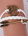 pulseiras eruner®leather liga multicamadas Mockingjay e flecha encantos brac handmade
