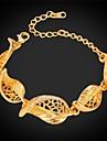 Mulheres Zircao Chapeado Dourado Pulseiras em Correntes e Ligacoes - Dourado Pulseiras Para Casamento Festa Diario Casual Esportes
