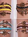 Eruner®Leather Bracelets Multilayer Alloy Anchor and Infinite Handmade Bracelets