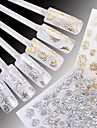 24 pcs Flor / Casamento / Fashion Transferencia de agua adesivo / Etiquetas de unhas 3D Diario / Plastico