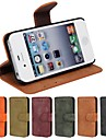 Genuine Matte Cowhide PU Leather Flip Cover Wallet Card Slot Case with Stand for iPhone 4/4S(Assorted Colors)