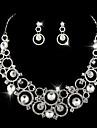 Bijoux Colliers decoratifs Boucles d\'oreille Mariage Soiree Quotidien Alliage Strass Plaque argent 1set Femme Argent Cadeaux de mariage