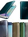 삼성 갤럭시 S6 가장자리 원래 거울면 화면 스마트 플립 가죽 케이스 커버
