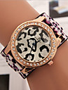 Women's Fashion Watch Imitation Diamond Leather Band Leopard Blue / Red / Green