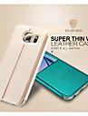 용 삼성 갤럭시 케이스 스탠드 / 윈도우 / 플립 케이스 풀 바디 케이스 단색 인조 가죽 Samsung S6