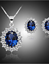 Synthetic Sapphire Jewelry Set - Cubic Zirconia, Silver Plated, Imitation Diamond Luxury, Party, Plaited Include Blue For Party / Birthday / Engagement / Earrings / Necklace
