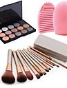 12pcs maquiagem cosmeticos caixa de ferramenta de blush fundacao jogo de escova + 15colors do shimmer paleta da sombra + 1pcs ferramenta