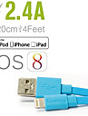 Lightning USB Cable Adapter Charging Cable Charger Cord Data & Sync Cord Flat Cables Cable For iPad Apple iPhone 120 cm Polycarbonate