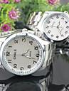 남성 아가씨들 커플용 드레스 시계 패션 시계 석영 합금 밴드 실버 화이트 블랙