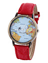 Women's Bracelet Watch Fashion Watch Quartz World Map Pattern PU Band Vintage Black White Blue Red Brown Khaki