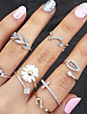 Women\'s Knuckle Ring Gold Silver Rhinestone Imitation Diamond Alloy Leaf Flower Basic Fashion Party Daily Casual Costume Jewelry
