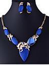 여성 보석 세트 패션 유럽의 고급 보석 합성 보석 모조 다이아몬드 귀걸이 목걸이 제품 파티 특별한 때 생일 결혼 선물