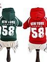 Собака Толстовки Комбинезоны Джерси Одежда для собак Мода Спорт Буквы и цифры Красный Зеленый Костюм Для домашних животных