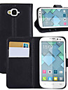 For Alcatel Case Wallet / Card Holder / with Stand / Flip Case Full Body Case Solid Color Hard PU Leather Alcatel