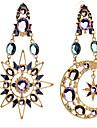 Feminino Brincos Compridos Joias de Luxo Europeu bijuterias Zirconia Cubica Chapeado Dourado Imitacoes de Diamante lua Joias Para