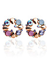 Stud Earrings Crystal Rhinestone Gold Plated Flower Rainbow Jewelry Party Daily Casual 2pcs