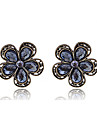 Stud Earrings Crystal Crystal Alloy Flower Black Jewelry Party Daily Casual 1pc