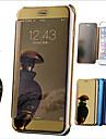 Coque Pour Apple iPhone 6 iPhone 6 Plus Plaque Miroir Clapet Coque Integrale Couleur unie Dur faux cuir pour iPhone 8 Plus iPhone 8