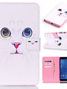 For Samsung Galaxy Case Card Holder / Wallet / with Stand / Flip / Pattern Case Full Body Case Cat PU Leather SamsungTab 4 10.1 / Tab 4