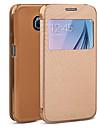 삼성 Samsung Galaxy S6 - 전체 바디 케이스 - 솔리드 컬러 - 삼성 모바일폰 (블랙/화이트/그린/블루/로즈/골드 , PU 피혁)