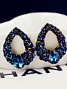 Women\'s Fashion Water Droplets Pattern Blue Zircon Stud Earrings