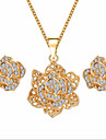 Women\'s Jewelry Set Gemstone & Crystal Cubic Zirconia Imitation Diamond Rose Gold Plated Alloy Roses Flower Floral Luxury Flower Style