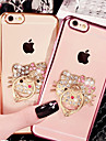 Case For Apple iPhone X iPhone 8 iPhone 8 Plus iPhone 6 iPhone 6 Plus Rhinestone Plating Ring Holder Transparent Pattern Back Cover Cat
