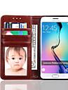 Para Samsung Galaxy S7 Edge Carteira / Porta-Cartao / Com Suporte / Flip Capinha Corpo Inteiro Capinha Cor Unica Couro PU Samsung S7 edge