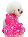 Dog Dress Dog Clothes Fashion Bowknot Polka Dots Yellow Red Blue Pink Costume For Pets