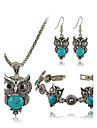 Women\'s Turquoise Jewelry Set - Resin, Turquoise Owl Luxury, European, Cute Include Red / Green / Blue For Party / Daily / Casual / Earrings / Necklace / Bracelets & Bangles
