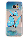 Blue butterfly Pattern TPU Relief Back Cover Case for Galaxy S7/Galaxy S7 Edge/Galaxy S7 Edge Plus