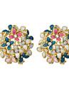 Forme de Fleur Boucles d\'oreille goujon Bijoux Femme Soiree Quotidien Alliage 2pcs